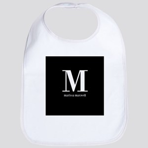 Black and White Monogram Name Bib