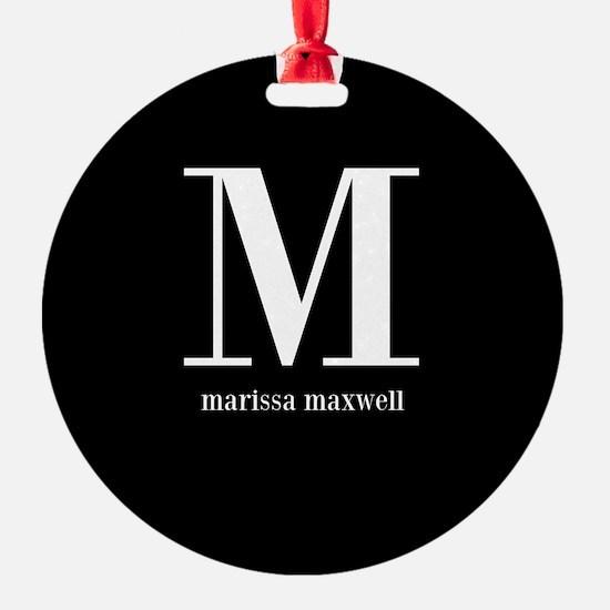 Black and White Monogram Name Ornament