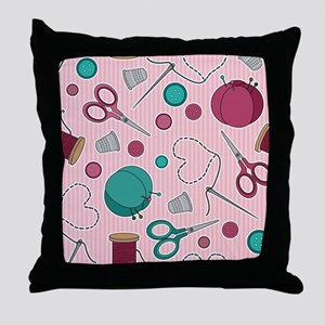 Cute Sewing Themed Pattern Pink Throw Pillow