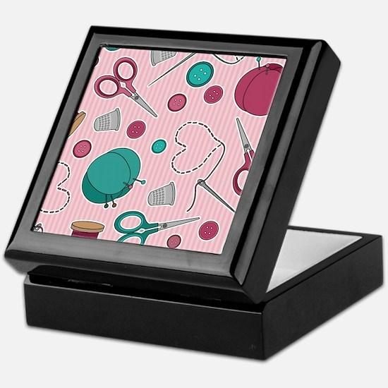Cute Sewing Themed Pattern Pink Keepsake Box