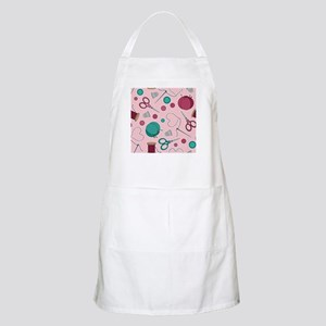 Cute Sewing Themed Pattern Pink Apron