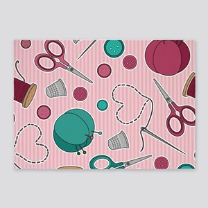 Cute Sewing Themed Pattern Pink 5'x7'Area Rug