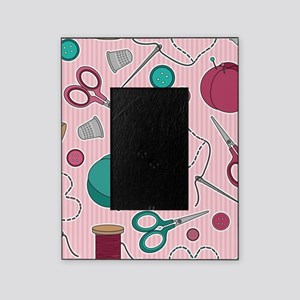 Cute Sewing Themed Pattern Pink Picture Frame