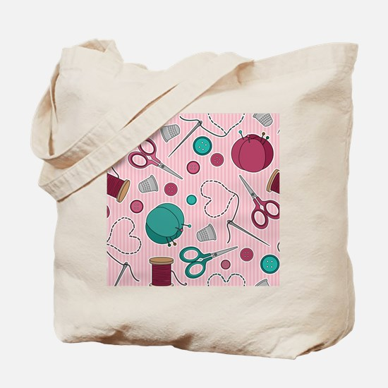 Cute Sewing Themed Pattern Pink Tote Bag