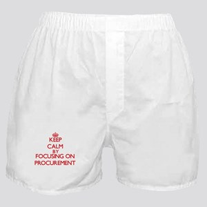 Keep Calm by focusing on Procurement Boxer Shorts