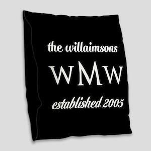 Black and White Custom Monogra Burlap Throw Pillow