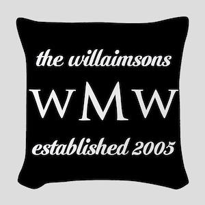 Black and White Custom Monogra Woven Throw Pillow