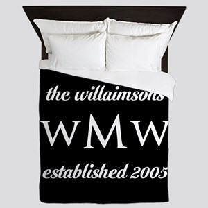 Black and White Custom Monogram Queen Duvet