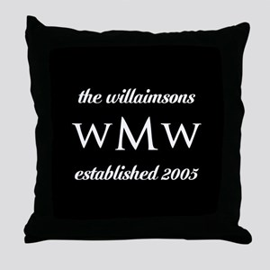 Black and White Custom Monogram Throw Pillow