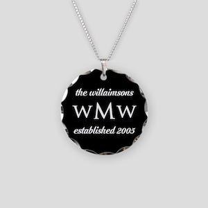 Black and White Custom Monog Necklace Circle Charm