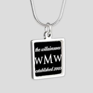 Black and White Custom Mon Silver Square Necklace