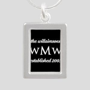 Black and White Custom M Silver Portrait Necklace