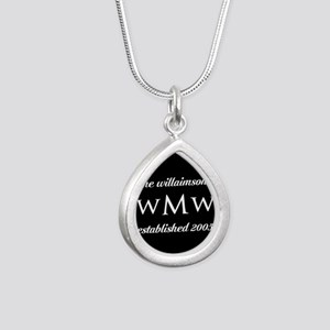 Black and White Custom M Silver Teardrop Necklace