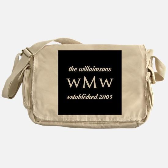 Black and White Custom Monogram Messenger Bag