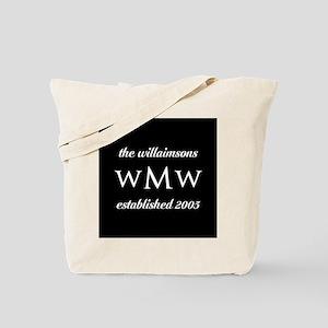 Black and White Custom Monogram Tote Bag