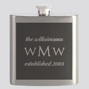 Black and White Custom Monogram Flask