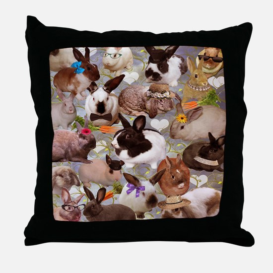 Happy Bunnies Throw Pillow