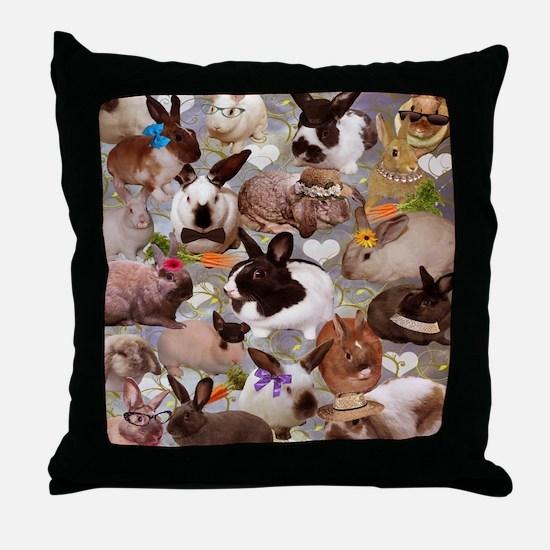 Happy Bunnies Throw Pillow