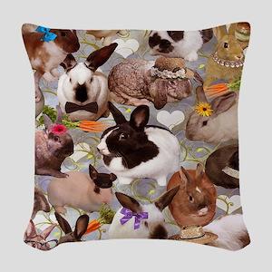 Happy Bunnies Woven Throw Pillow