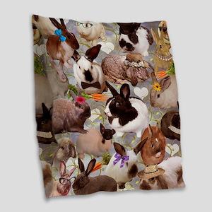 Happy Bunnies Burlap Throw Pillow