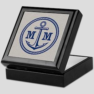 Monogrammed Anchor 2 Initials Keepsake Box