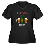I Love Beer Women's Plus Size V-Neck Dark T-Shirt