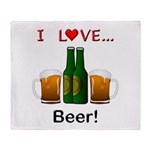 I Love Beer Throw Blanket