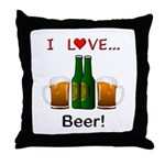 I Love Beer Throw Pillow