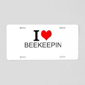 I Love Beekeeping Aluminum License Plate