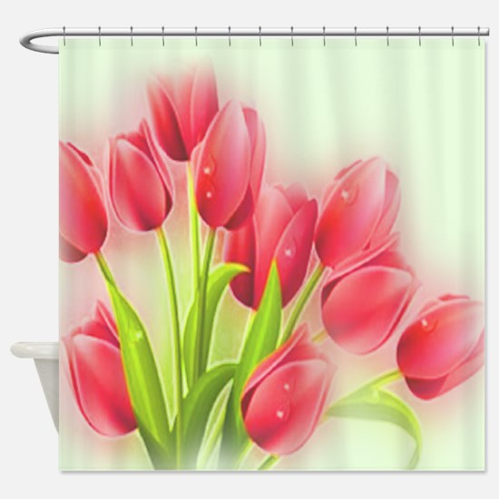 Giant Pink Tulip Oil Painting Shower Curtain