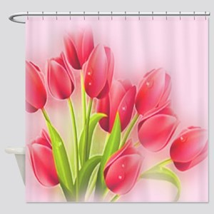 Large Pink Tulip Art - Painting Shower Curtain