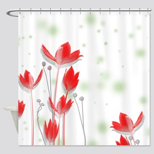 Large Red Flower Art Shower Curtain