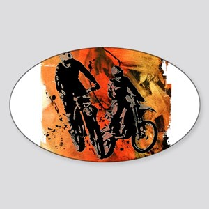 Dirt Bike Duo in Red Orange and Black Mud Sticker