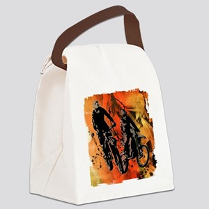 Dirt Bike Duo in Red Orange and B Canvas Lunch Bag