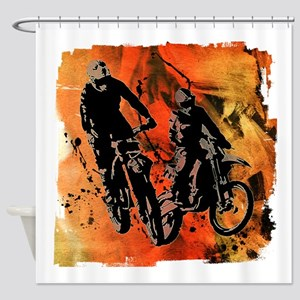 Dirt Bike Duo in Red Orange and Bla Shower Curtain