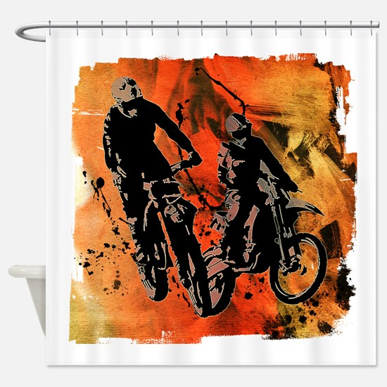 Dirt Bike Duo in Red Orange and Bla Shower Curtain