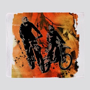 Dirt Bike Duo in Red Orange and Blac Throw Blanket