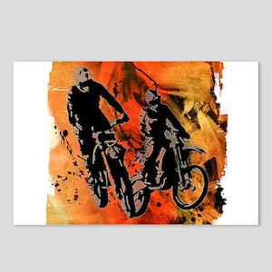 Dirt Bike Duo in Red Oran Postcards (Package of 8)