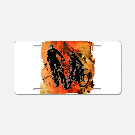 Dirt Bike Duo in Red Orange Aluminum License Plate
