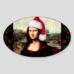Christmas Mona Lisa Wearing a Santa Hat Sticker