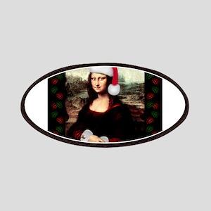 Christmas Mona Lisa Wearing a Santa Hat Patches