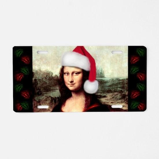 Christmas Mona Lisa Wearing Aluminum License Plate