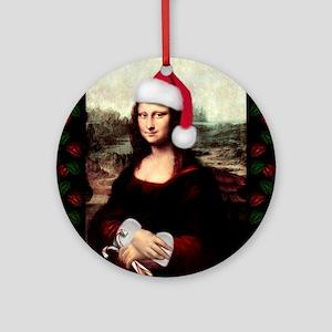Christmas Mona Lisa Wearing a San Ornament (Round)