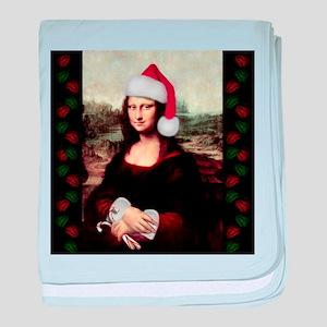 Christmas Mona Lisa Wearing a Santa H baby blanket