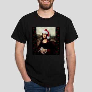 Christmas Mona Lisa Wearing a Santa Hat T-Shirt