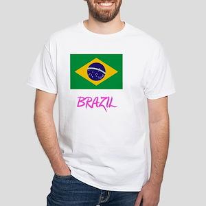 Brazil Flag Artistic Pink Design T-Shirt