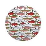 Pacific Salmon pattern Ornament (Round)