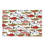 Pacific Salmon pattern Postcards (Package of 8)