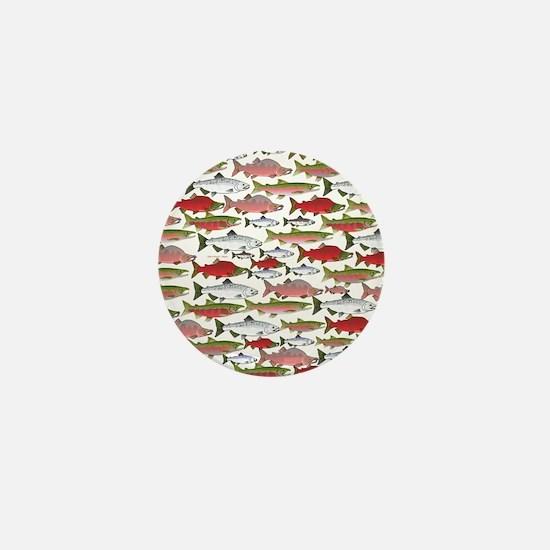 Pacific Salmon pattern Mini Button