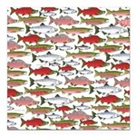 Pacific Salmon pattern Square Car Magnet 3